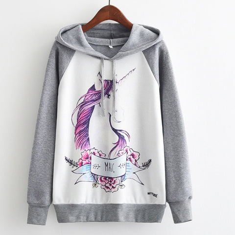 Watercolor Unicorn Womens Long Sleeve Hoodie Sweatshirt Jumper Hooded Pullover