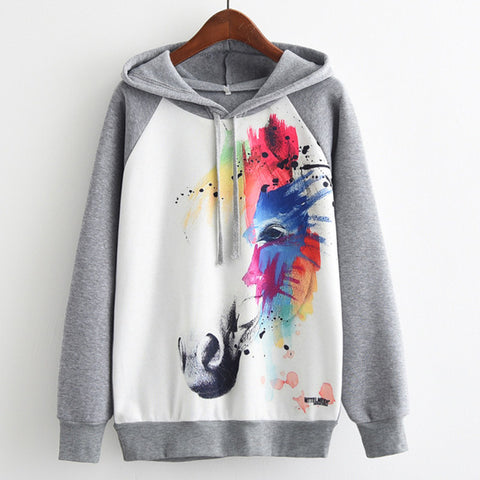 Rainbow Unicorn Head Womens Long Sleeve Hoodie Sweatshirt Jumper Hooded Pullover