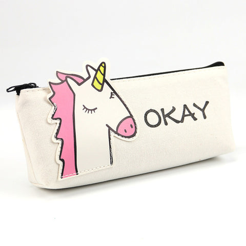 3D White Unicorn Pencil Case