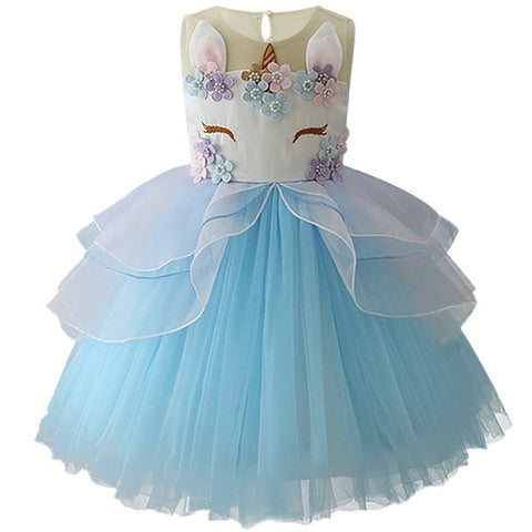 Girls Unicorn Embroidered Princess Tutu Dress – Blue