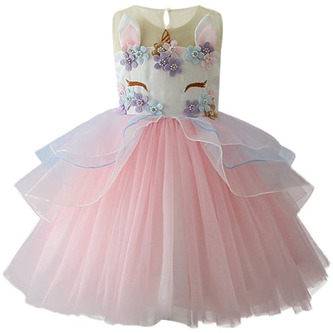 Girls Unicorn Embroidered Princess Tutu Dress – Pink