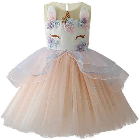 Girls Unicorn Embroidered Princess Tutu Dress – Yellow