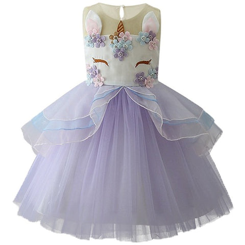 Girls Unicorn Embroidered Princess Tutu Dress – Purple