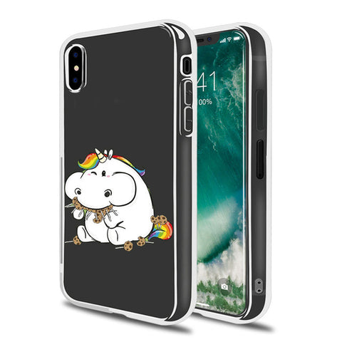 """Stuffing Your Face"" Clear Unicorn iPhone case"