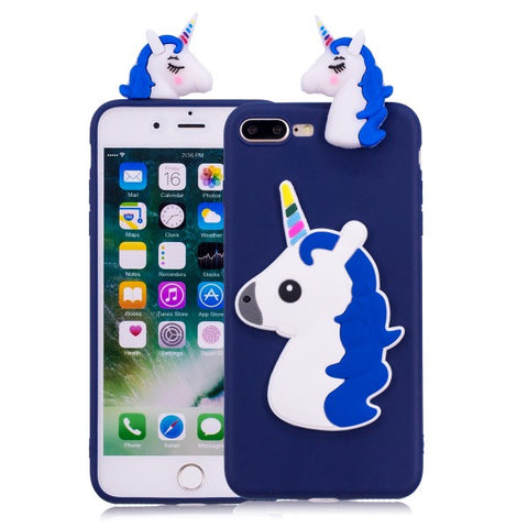 Blue 3D Unicorn iPhone case