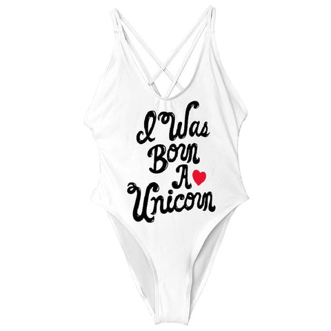 """I was Born a Unicorn"" Cross Back One Piece Swimsuit"