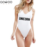 UNICORN Letter Print (Back cross) - One Piece Swimwear