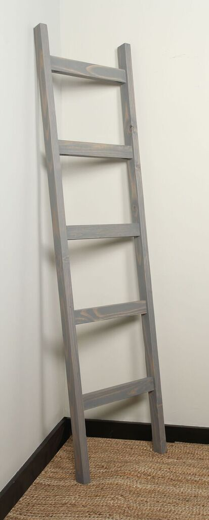 Weathered Gray Farmhouse Blanket Ladder- Wicked Chicken Designs