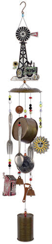 Windmill Tractor Galvanized Metal Wind Chime