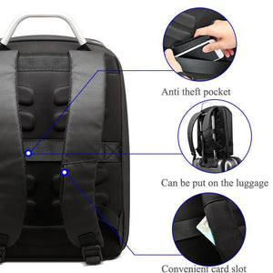 Flap Zipper Student Backpack Black Men Business Laptop Backpack 15.6