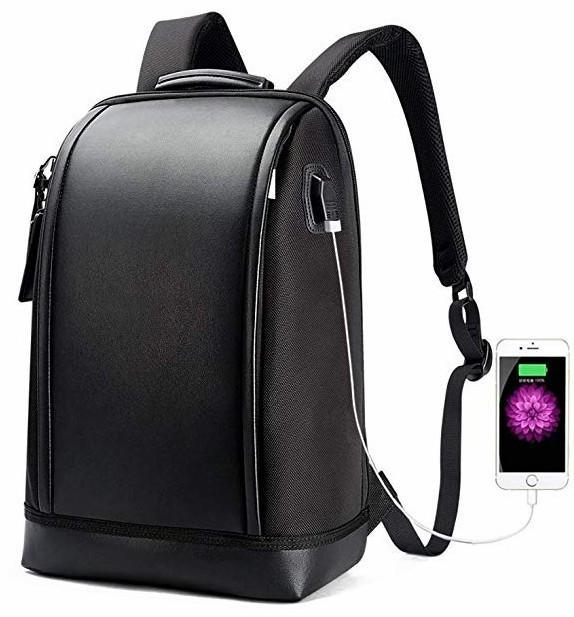 15.6 inch Laptop Backpack Invisible Water Bottle Pocket Anti-Theft Laptop Rucksack USB Charging Port and Anti-Explosion Zipper Water Resistant Travel Anti-Thief Men Backpack