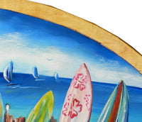 Surf Mad - Oil on Vintage Skimboard (Timber) - SOLD