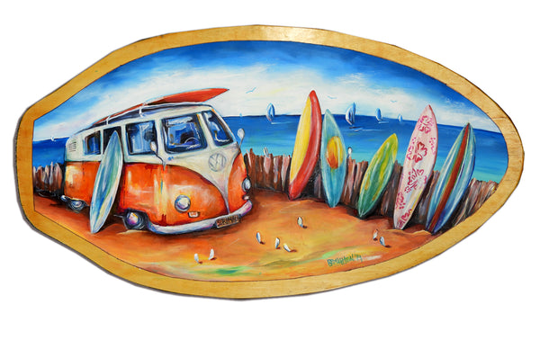 Surf Mad - Oil on Vintage Skimboard (Timber)