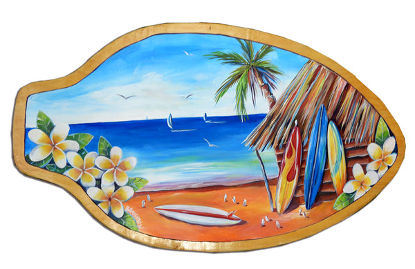 Frangipani Surf - Oil on Vintage Skimboard (Timber) SOLD
