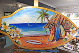 Frangipani Surf - Oil on Vintage Skimboard (Timber)
