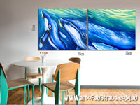 Humpback Whale and Calf  - Oil on Canvas Diptych