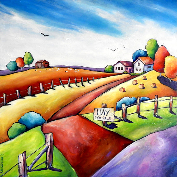 Hay for Sale - Mixed Media Oil Painting SOLD