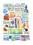 Cotton Teatowel:  Port Macquarie/South West Rocks Area