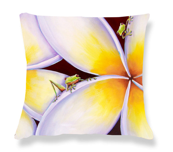 Cushion Cover: Frangipani Frogs