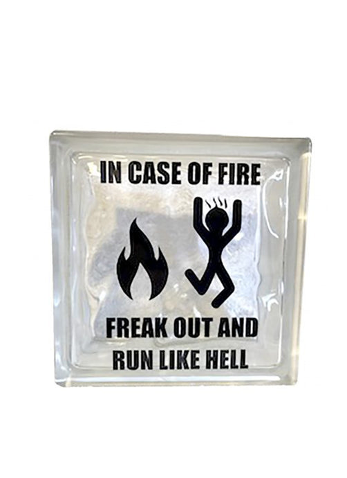 Glassten med lys - In case off fire freak out and run like hell