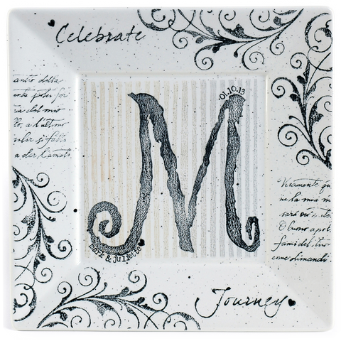 1021 MNN-W - Monogram Wedding Plate