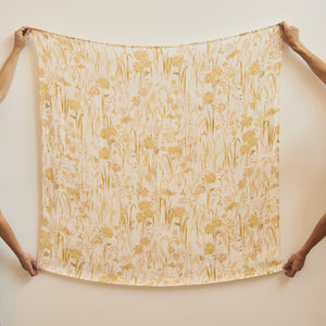 Gold Fields Swaddle and Fitted Bassinet Sheet / Changing Pad Cover Bundle