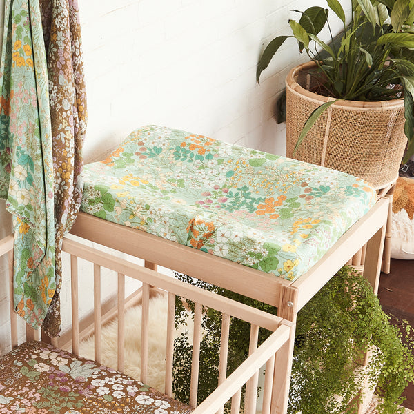 Mint meadow Hemp/Organic Cotton Bassinet Sheet/Changing Pad Cover