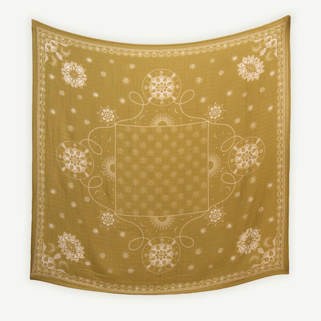 Celestial Gold Bamboo / Organic Cotton Swaddle