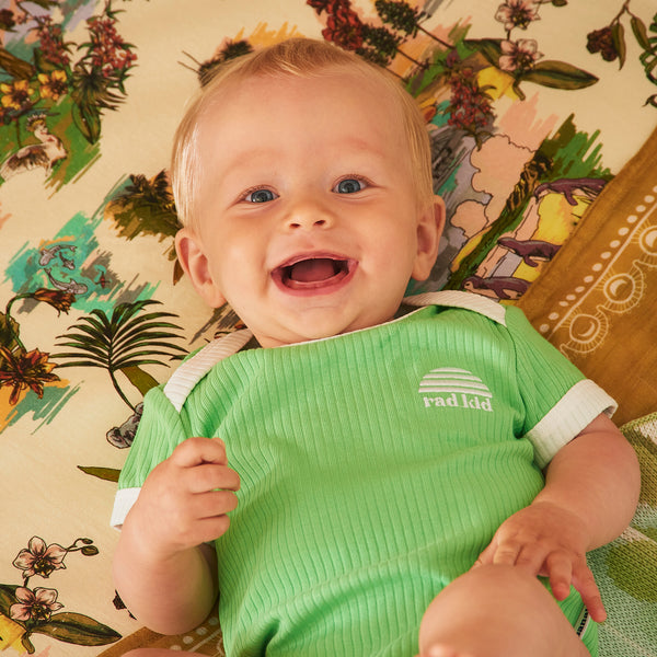 Spearmint Ribbed Organic Cotton Short Sleeve Onesie
