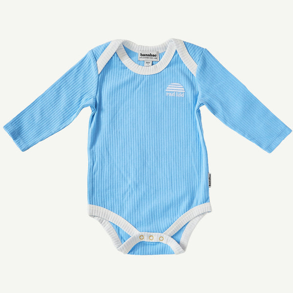 Sky Blue Ribbed Organic Cotton Long Sleeve Onesie