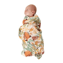 Wattle Wander Swaddle and Fitted Bassinet Sheet / Changing Pad Cover Bundle