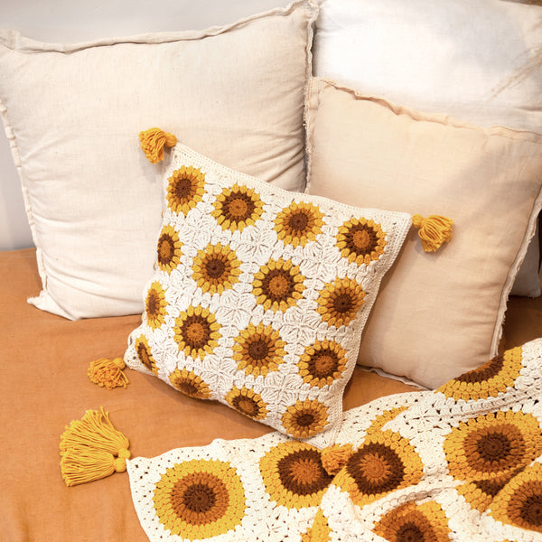 Sunflowers Crochet Cushion