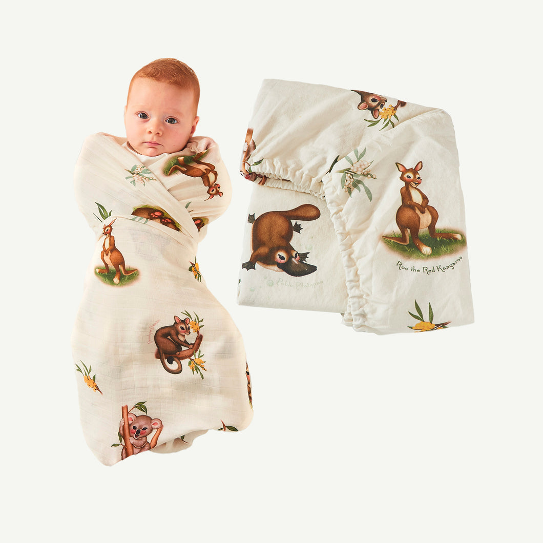Marsupial Swaddle and Fitted Bassinet Sheet / Changing Pad Cover Bundle