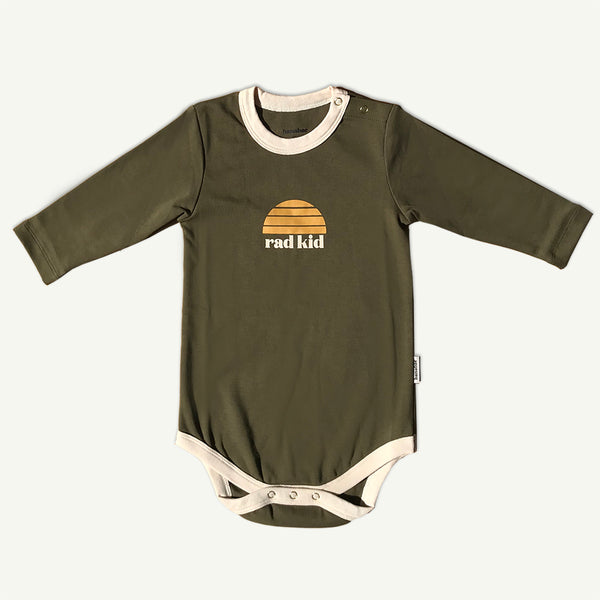 Rad Kid Khaki Organic Cotton Onesie in Long Sleeve