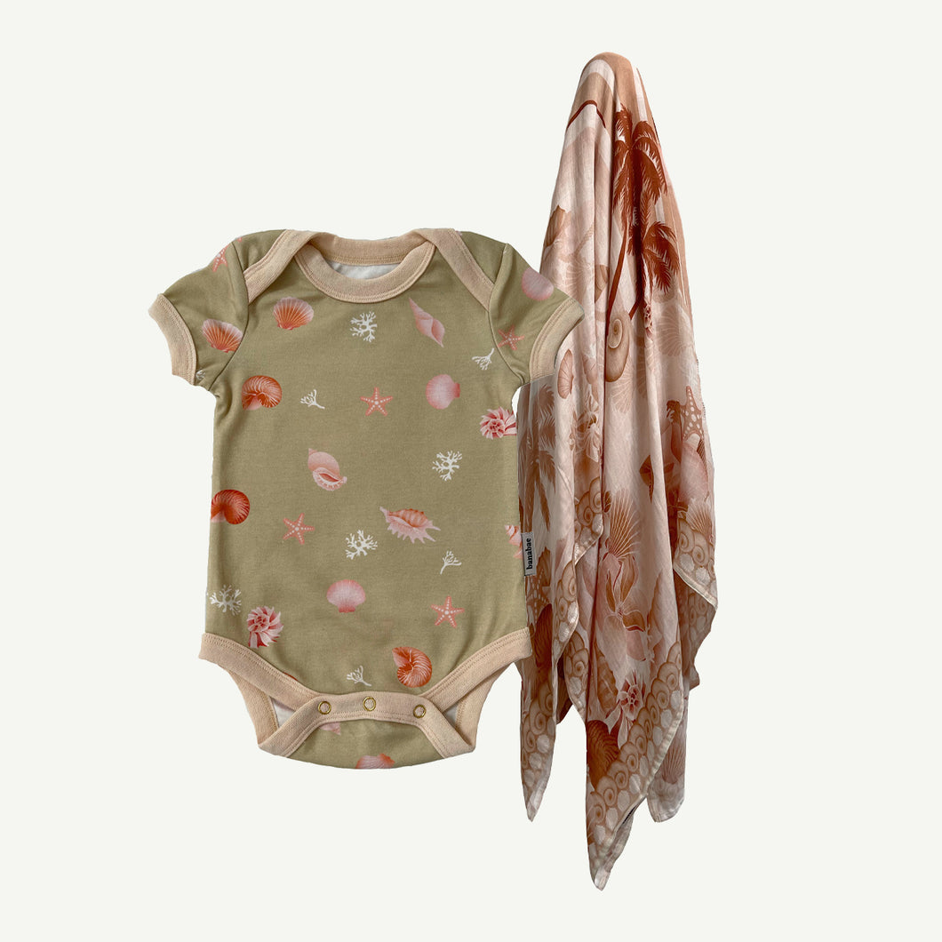 Shell Collector Onesie and Swaddle Bundle