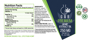 GAB Premium Hemp Extract Oil - 250MG - 1 Ounce