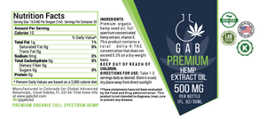 GAB Premium Hemp Extract Oil - 500MG - 1 Ounce