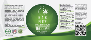 NEW! GAB Elite Hemp Extract Oil - 1500MG - 1 Ounce