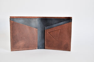 "The ""Clásico"" Bi-Fold Wallet // BROWN & BLUE"