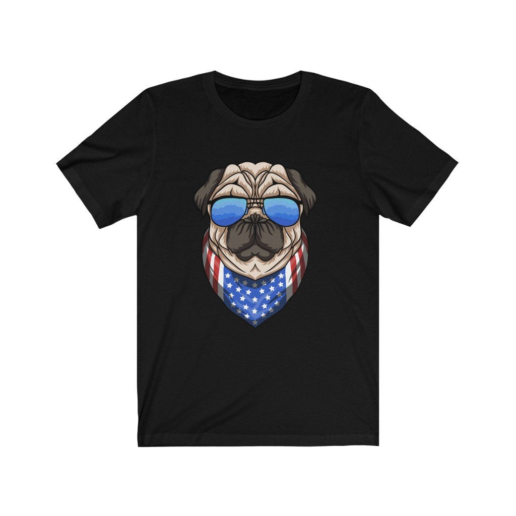 Pug 4th of July Shirt with Glasses