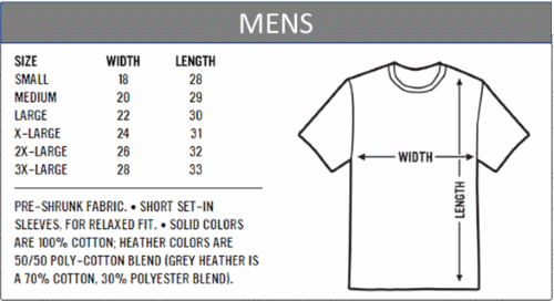 Faded USA Shirt size chart