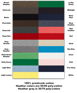 WTF Shirt color chart