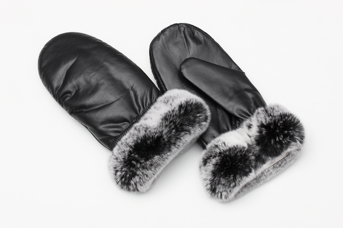 Leather mittens w/ rabbit fur