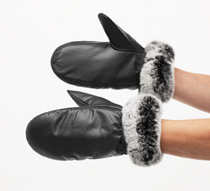 Leather mittens w/ faux fur