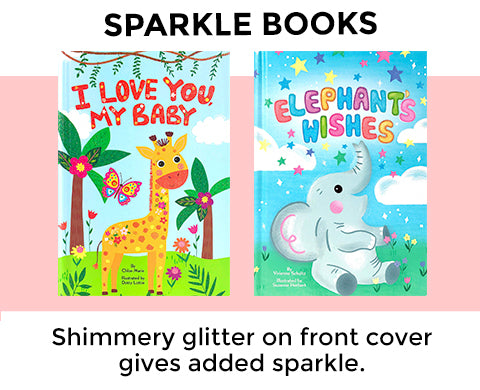 Little Hippo Books with Glitter Sparkle on Cover Kids Book featuring stories about family love friendship featuring elephants giraffes unicorns reindeer