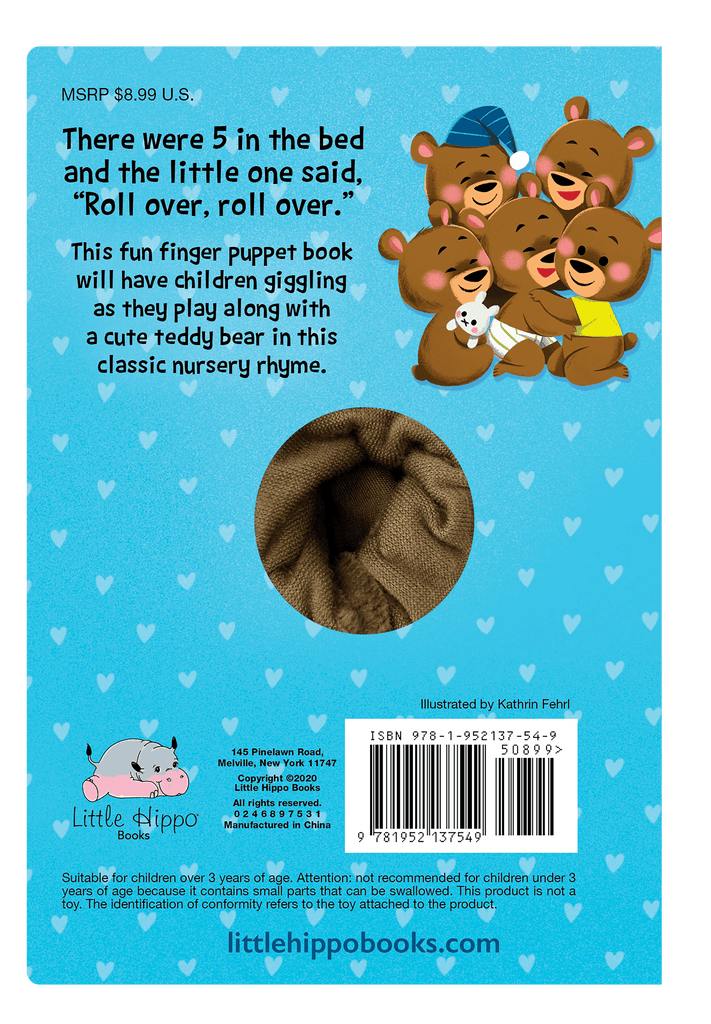 Little Hippo: Finger Puppet Five 5 Bears in a Bed Counting Bedtime Family Fun Classic