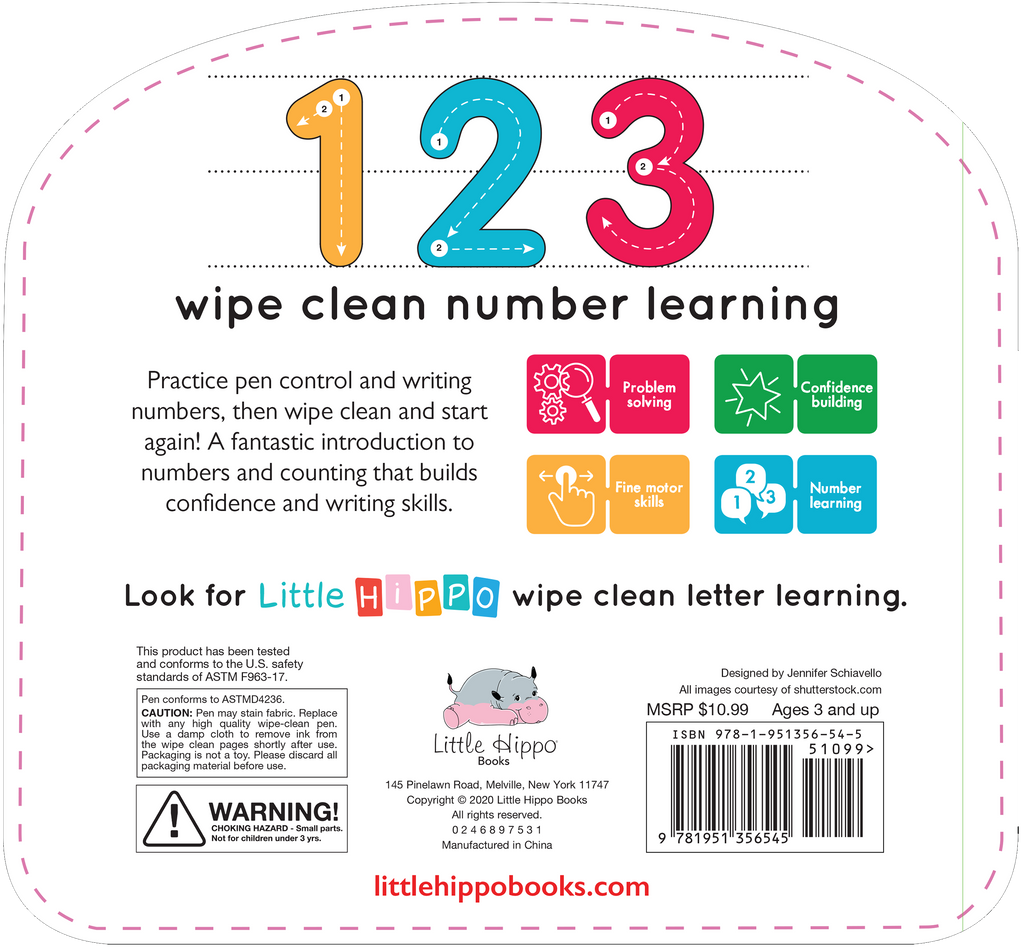 Little Hippo: Wipe Clean Write and Wipe Numbers 123 Board Book Children Learning