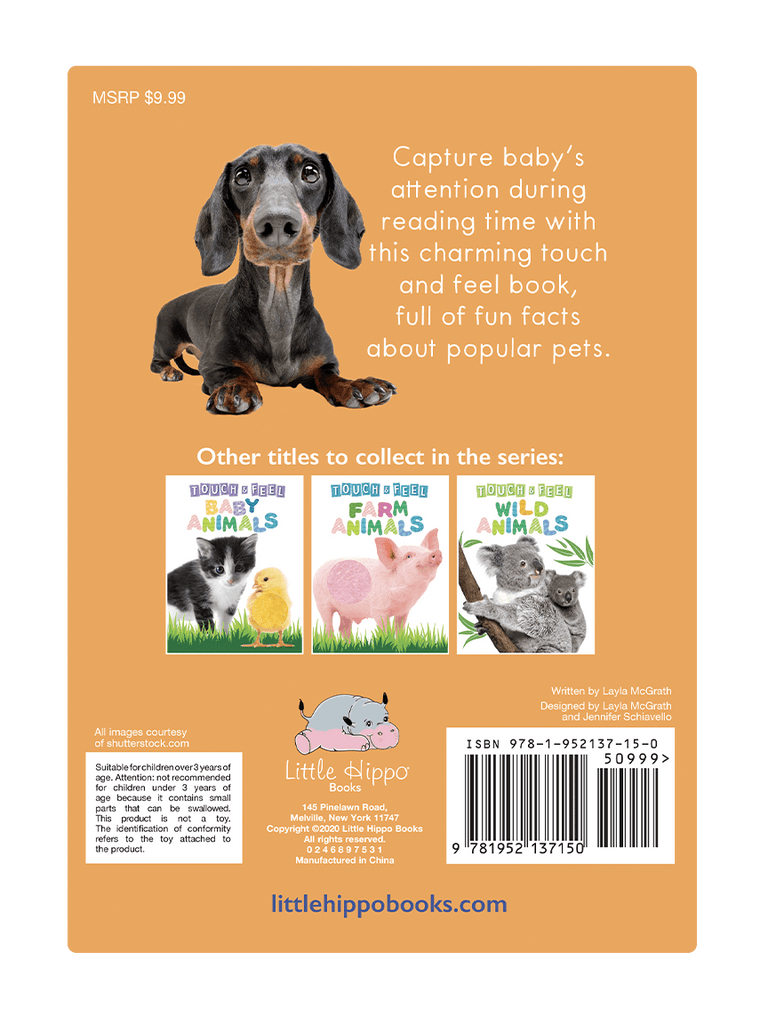 Little Hippo: Touch and Feel Adorable Pets Animals Board Book Children Tactile Learning Real Photography