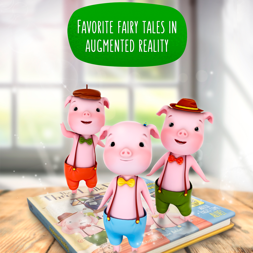 Little Hippo Come-to-Life Augmented Reality Children's Book The Three Little Pigs