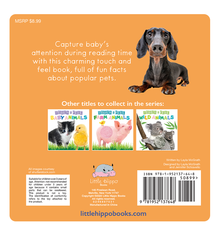 Little Hippo: Touch and Feel Adorable Pet Animals Board Book Children Tactile Learning Real Photography